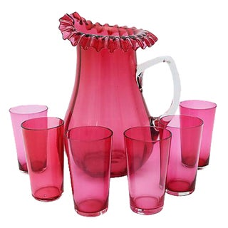 Antique English Cranberry Glass Beverage Set - Set of 7