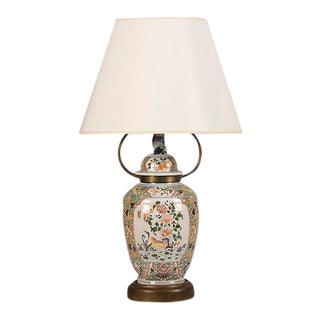 Delft Hand Painted Urn with Lid, Holland c. 1890, Mounted as Custom Lamp
