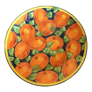 Italian Hand Painted Ceramic Orange Motif Plate