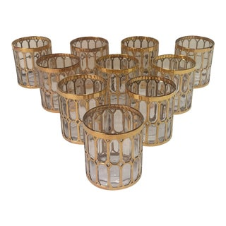 22k Gold Low Glasses With Gold Detail - Set of 10