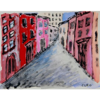 Abstract Village Street New YorkCityscape by Cleo