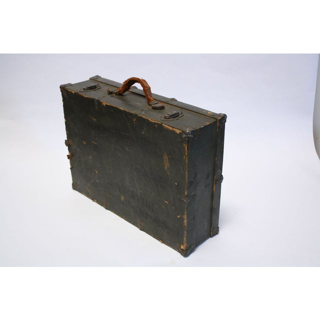 Vintage Army Green Radio Box Leather Handle - Image 4 of 7