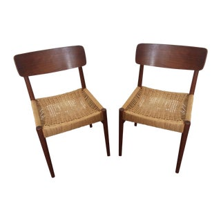 Vintage Danish Modern Rope Seat Chairs - A Pair