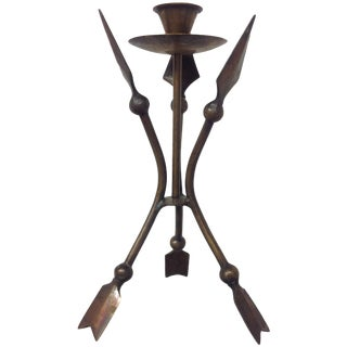 French Hammered Bronze Arrow Candlestick