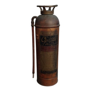 Antique Guardene Copper & Brass Fire Extinguisher