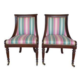 Hickory Chair Regency Style Mahogany Accent Chairs - A Pair