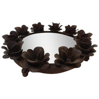 Rusted Iron & Mirror Plateau Candle Holder