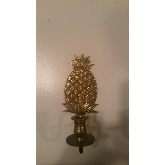 Brass Pineapple Wall Sconces - Pair - Image 3 of 3