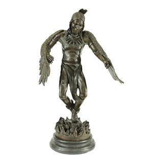 Indian Native American Warrior Bronze Statue on Marble Base Sculpture
