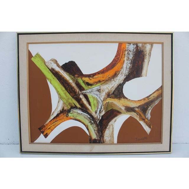 A- Large Vintage Expressionist Abstract Painting - Image 5 of 11
