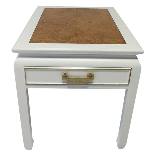 Century Burl-Wood & Lacquered Side Table - Image 1 of 6