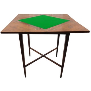 Vintage Folding Felt-Top Card Game Table