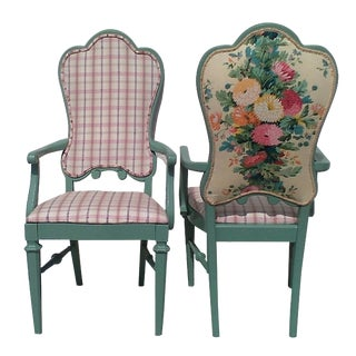 Custom Floral & Plaid Green Armchairs - A Pair