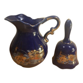 Peacock Gold & Cobalt Blue Pitcher and Matching Bell