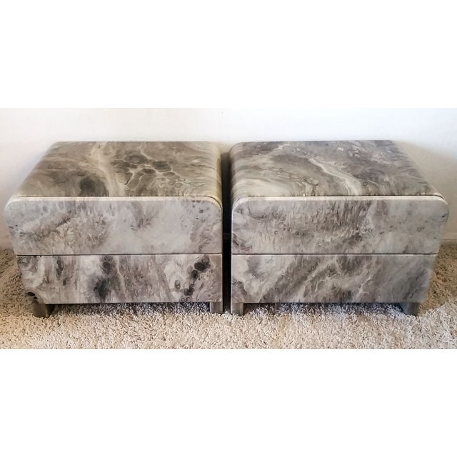 1970's Faux Marble Nighstands - Pair - Image 2 of 5