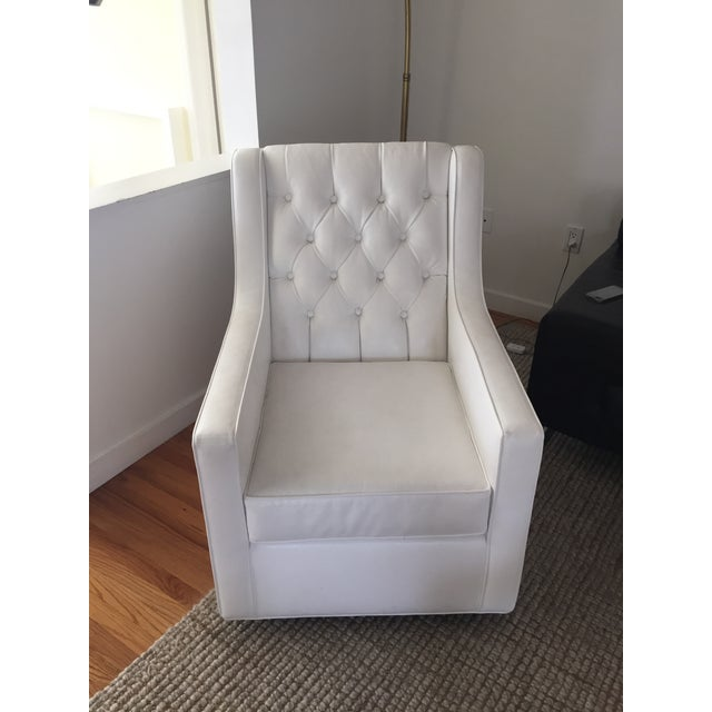white faux leather swivel rocking chair chairish. Black Bedroom Furniture Sets. Home Design Ideas