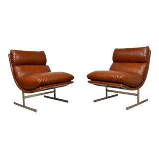 "Kipp Stewart Pair of Leather ""Arc"" Chairs for Directional"