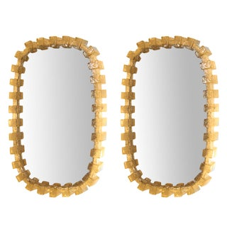 Pair of 1960s Amber Resin Mirrors