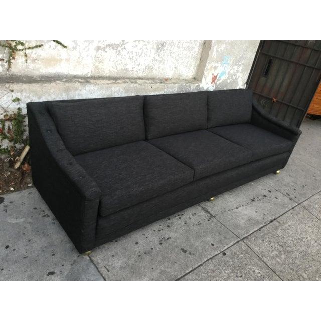 Vintage Mid Century Modern Sofa: Vintage Mid-Century Modern Black Tweed Sofa