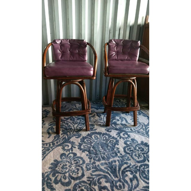 Vintage Purple Vinyl & Bamboo Bar Stools - A Pair - Image 3 of 5