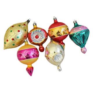 Large Unique 1960s Christmas Ornaments w/Box - Set of 6