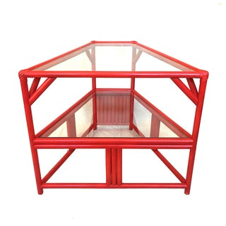 Persimmon Red Rattan Side Table