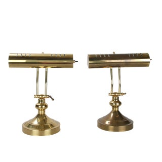 Adjustable Brass Piano Lamps, Pair