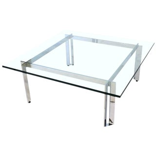 Chrome and Glass Coffee Table in the Manner of Romeo Rega