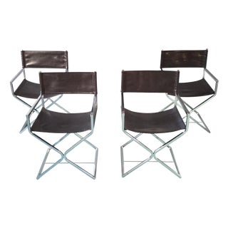 Chrome X-Style Directors Chairs - Set of 4