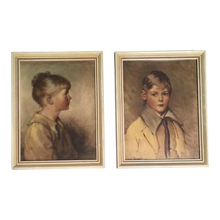 1920's Boy & Girl Portraits - A Pair