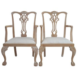 Whitewash Chippendale Armchairs - A Pair