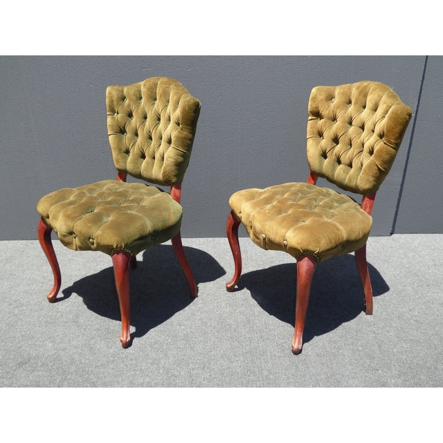French Provincial Tufted Velvet Chairs - Pair - Image 5 of 11
