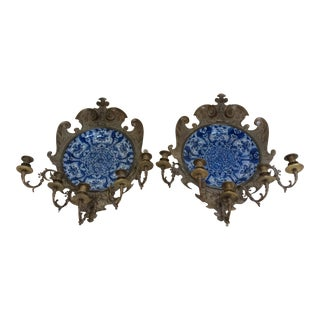 Delft Charger Wall Sconces - a Pair