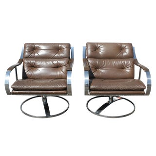 Gardner Leaver for Steelcase Leather Lounge Arm Chair - A Pair