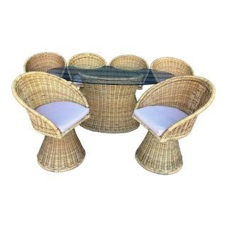 Wicker Dining Table And Swivel Chairs- Set Of Six