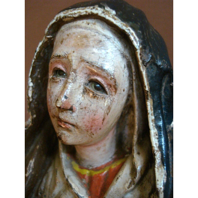 18th Century Antique Spanish Colonial Saint/Virgin - Lady Of Sorrow - Image 6 of 9