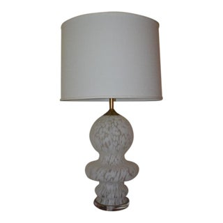 Murano Bulbous White & Clear Table Lamp