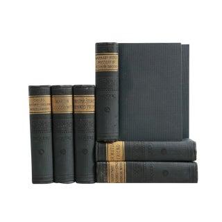Pine Green & Gilt Antique Dickens Books - Set of 7