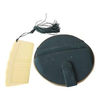 Circa 1950 Vintage Compact & Comb - A Pair