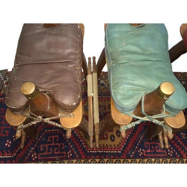 Vintage Egyptian Camel Saddle Bar Stools Set - 4 - Image 7 of 10