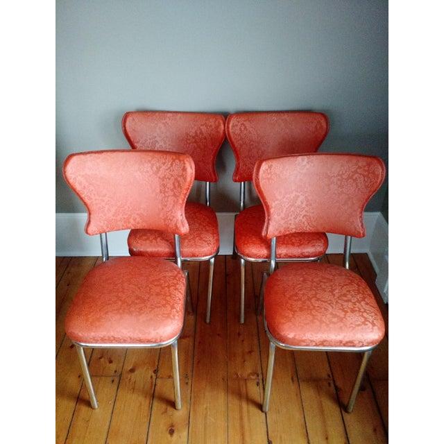 Retro 1950s Vinyl & Chrome Dining Chairs - Set of 4 - Image 2 of 10