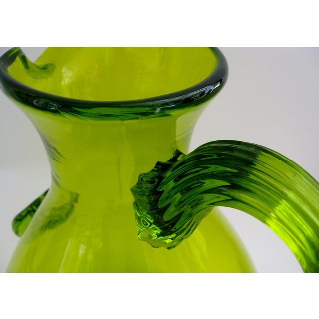 Green Glass Pitcher - Image 5 of 5