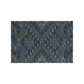 "Navy Blue Tribal Geometric Flatweave Rug - 9'3"" X 13'"