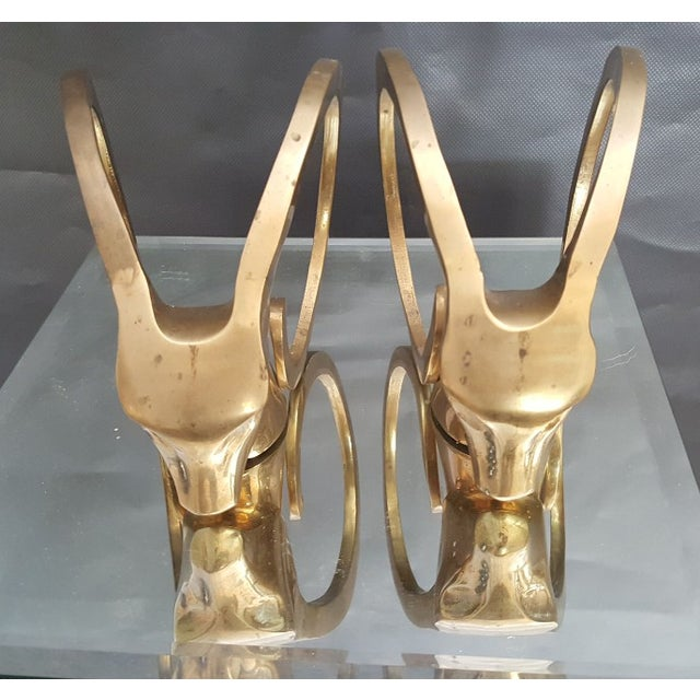 Hollywood Regency Brass Rams Head Bookend - Pair - Image 4 of 5