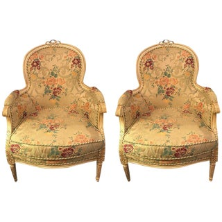 Louis XVI Style Cream Painted Bergères with Custom Floral Upholstery - A Pair