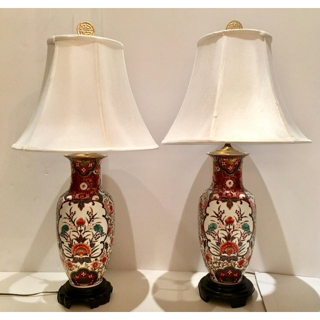 Hand-Painted Porcelain Imari Vase Table Lamps - A Pair - Image 3 of 10