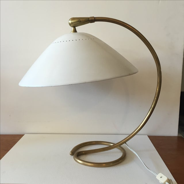 Mid-Century 1960s White & Gold Desk Lamp - Image 2 of 11