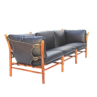 Black Leather Safari Sofa by Arne Norell