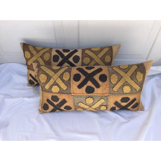 African Kuba Cloth Pillows- A Pair - Image 3 of 7
