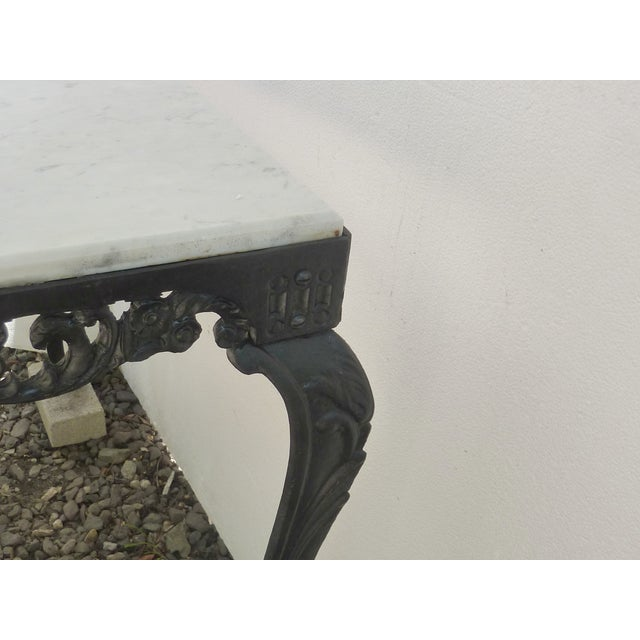 Image of Antique Cast Iron Table with Marble Top